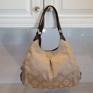 Coach Madison Maggie OpArt Gold/Tan Hobo  Bag